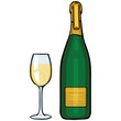 vector cartoon illustration: glass and bottle of champagne