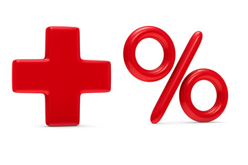 Increase percent on white background. Isolated 3D image