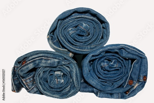 Roll blue jeans