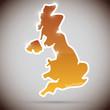 vintage sticker in form of Great Britain