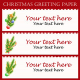 Three Christmas greeting paper with text