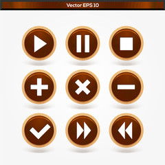 Set of round wooden media player buttons