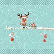 Rudolph Glasses Pulling Sleigh Gift Tree Retro Dots