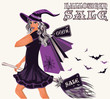 Halloween sale postcard with sexy witch, vector illustration