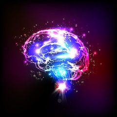 Abstract light human brain