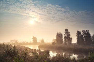 sunrise over misty bog