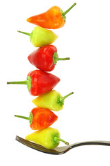 Colorful hot mini chili peppers balance on fork