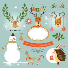 Christmas and New Year , set of graphic elements