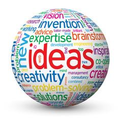 """IDEAS"" Tag Cloud Globe (innovation solutions creativity smart)"