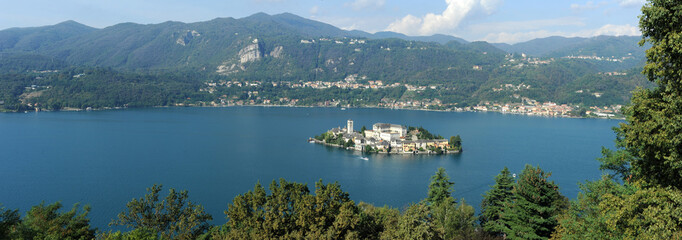 Overview at lake Orta with the island of San Giulio, Italy