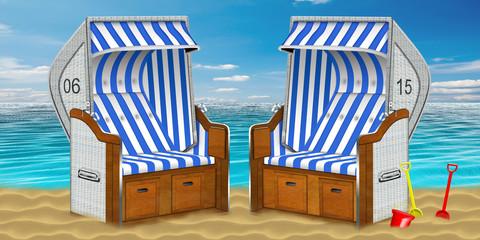 2 Strandkörbe mit Sandspielzeug am Strand