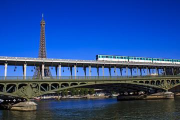 Parisian metro train crossing Passy bridge