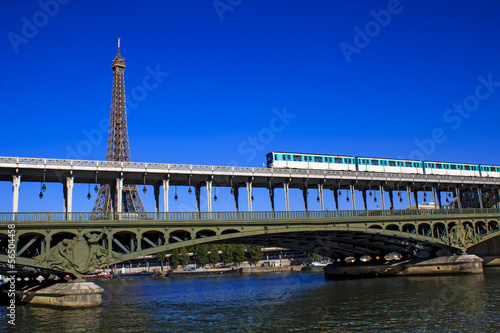 Parisian metro train crossing Passy bridge
