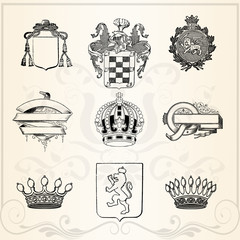 Collection of crowns, vintage illustration