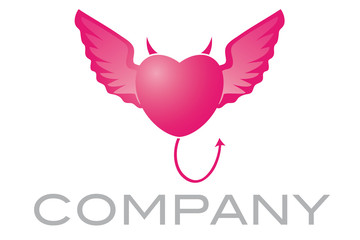 Angel Devil Winged Heart Company Logo