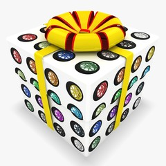 3d gift box with Set of colorful wheels