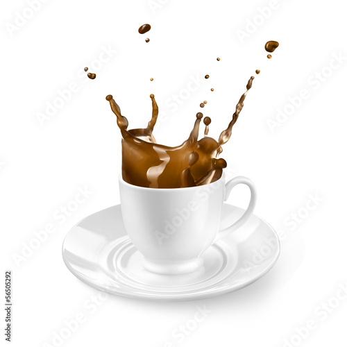 Splash of coffee in the cup isolated on white - 56505292