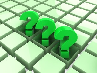 3d three green question marks