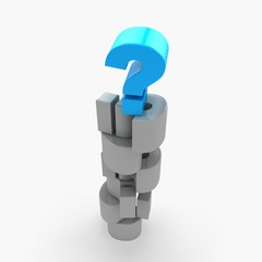 3d pile of question marks , isolated on white
