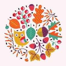 Ornamental Runde Blumenmuster. Herbst Hintergrund