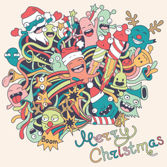 Christmas background with cute crazy monsters