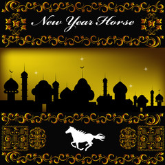 The New Year Horse.Vector background