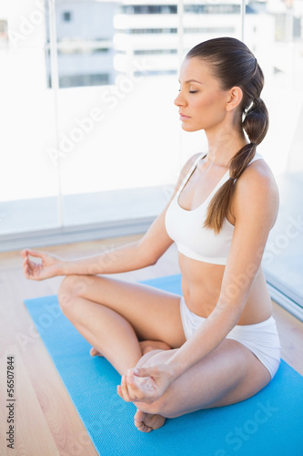 Peaceful young woman meditating in lotus position