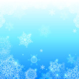 Blue snowflakes light winter vector background