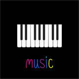 Piano Keys with word Music. Black background. Card