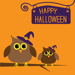 Happy Halloween card with owls.