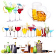 different  alcohol drinks set isolated