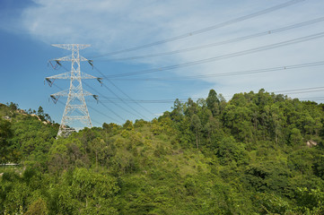 Pylon with electric lines
