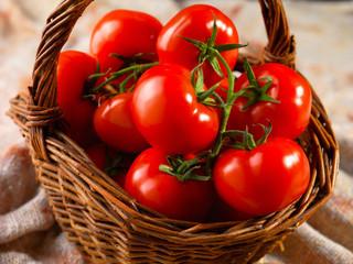 Panier de tomates grappes fraîches