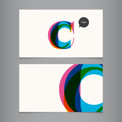 Business card template, letter C