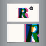 Business card template, letter R