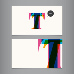 Business card template, letter T