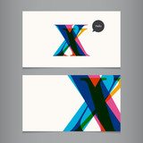 Business card template, letter X
