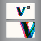Business card template, letter V