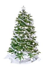 Sapin de Noël décoré, isolé fond blanc