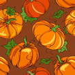 Seamless pattern of pumpkins