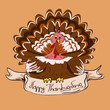 Thanksgiving card with turkey bird