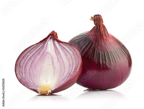 Red sliced onion isolated on white background