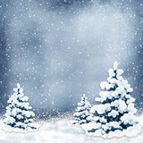 Winter background with Christmas trees and snow