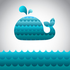 Blue vector whale in the sea waves with fontain