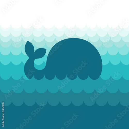 Blue vector whale in the sea waves, simple style