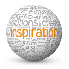 """INSPIRATION"" Tag Cloud Globe (motivation imagination new ideas)"