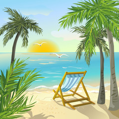 shore with palm trees and sunrise