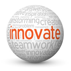 """INNOVATE"" Tag Cloud Globe (ideas solutions innovation new)"