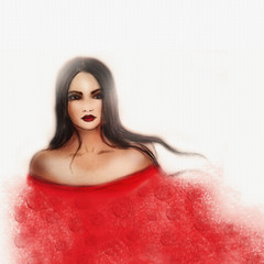 Fashion Illustration, pencil drawing-Girl in red dress