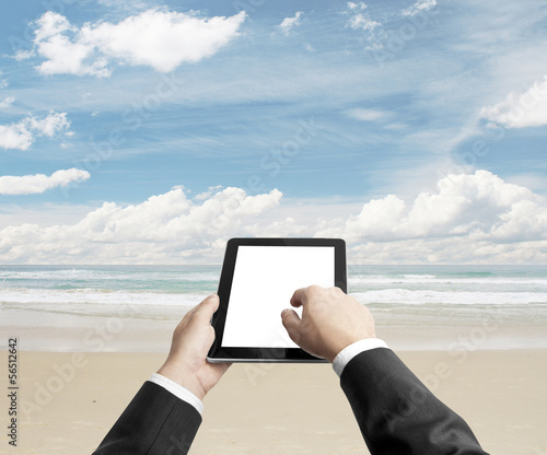 tablet on beach
